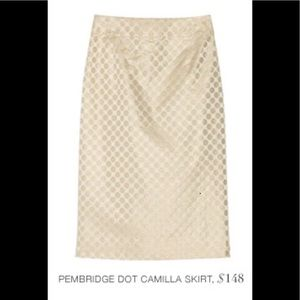 J Crew Pembridge Dot Camilla Ivory Pencil Skirt
